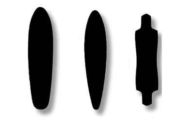 alcuni tipi di longboard skate, gli shape più comuni adatti a differenti stili come down hill, dancing e crousing