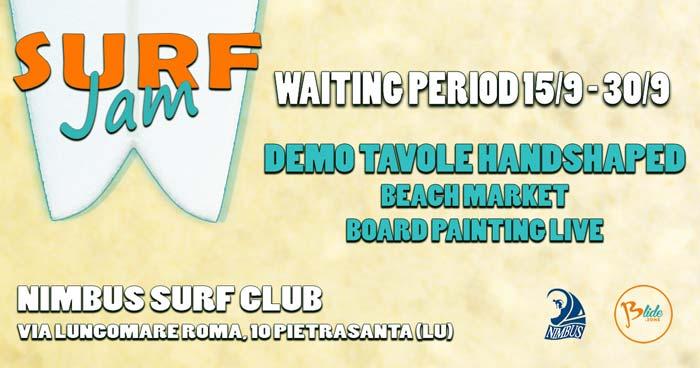 Locandina orizzontale surf jam evento di surf e skate artigianale organizzato da blide.zone