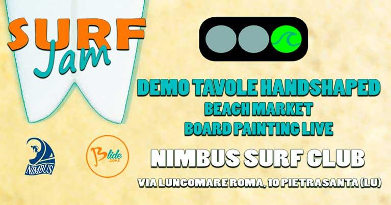 locandina surf jam conferma data. Manifestazione di demo tavole surf organizzata da blide.zone la piattaforma web di esperti shaper di tavole da surf e skate