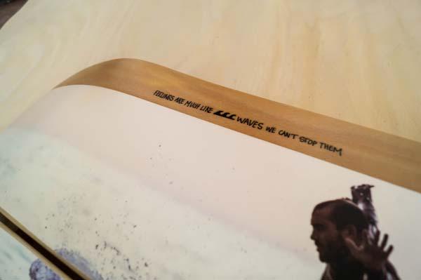 il dettaglio della tavola da skate per esposzione