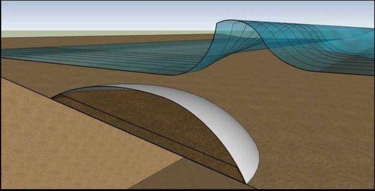 Airwave l'onda un idea per creare onde artificiali come su un fondale roccioso