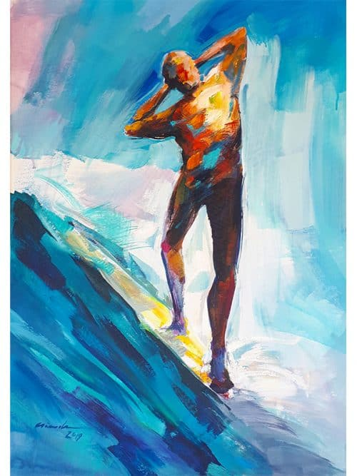 Dipinto di surfista mentre esegue un noseriding, opera originale e unica di Vincenzo Ganadu. Surf artist international painters