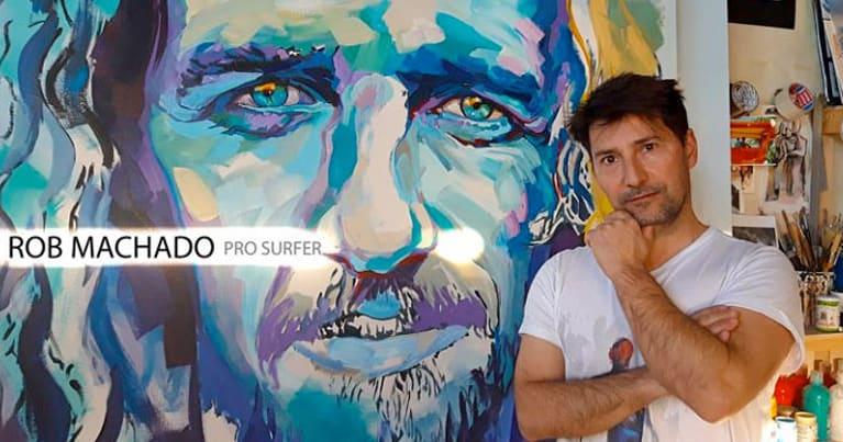 il ritratto di rob machado dipinto dall'artista di surf art Vincenzo Ganadu