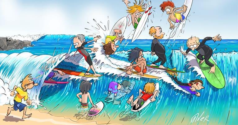 Una delle più recenti vignette del fumettista Alberto Verdeja che rappresenta una line up affollata da surfisti e non solo