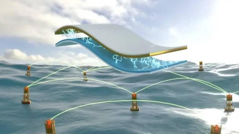 rendering delle innovative boe che catturano energia dalle onde del mare